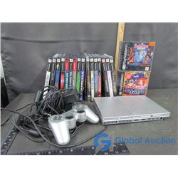 PlayStation 2 With Games and Two PlayStation 1 Games
