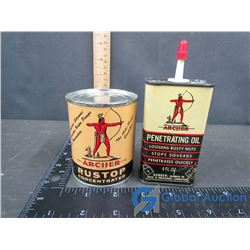 (2) Small Archer Oil Tins