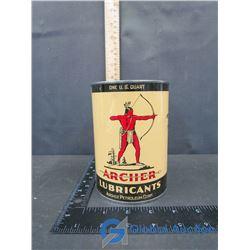 (1) Full Quart Archer Oil Tin