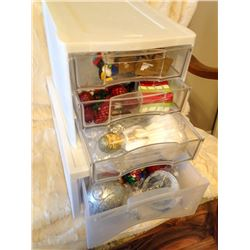 (2) Storage Containers & Misc Christmas Decorations