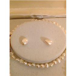 Seed Pearl Necklace, Earrings & Bracelet