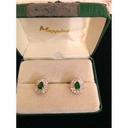 14K Gold Plated Glass Emerald & Cz Earrings