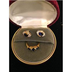 14K Gold Plated Sapphire & Cz Earrings & Ring