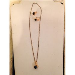 18K Gold Filled Onyx Necklace & Earring Set