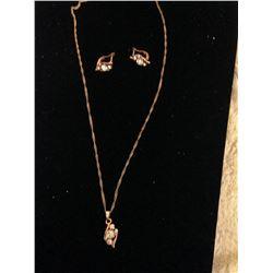 14K Rose Gold Filled Necklace & Earring Set