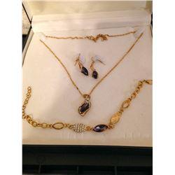 Gold Plated Onyx Necklace, Earrings & Bracelet