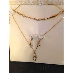 Gold Plated Crystal Necklace, Earrings & Bracelet