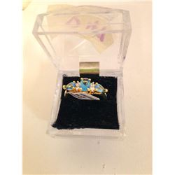 14K Filled Blue Topaz Ring