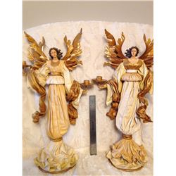 Large Metal & Sculptured Cloth Angel Candle Holders TWO TIMES THE MONEY