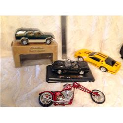 Camaro, Corvette, Ford Cars & Toy Motorcycle