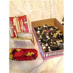 Box Buttons, Manicure Set, Razor & Purse