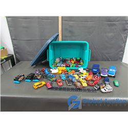 Rubbermaid Bin w/ Assorted Toy Vehicles