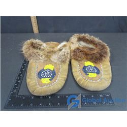 Leather Beadwork & Fur Trimmed Moccasins