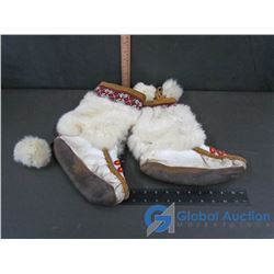 White Leather Beadwork & Fur Trimmed Mukluks