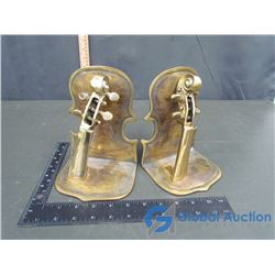 Brass Violin Themed Book Ends