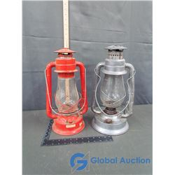 Red & Silver Dietz Barn Lanterns (BID PRICE X 2)