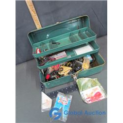 Vintage Metal Tackle Box & Assorted Fishing Tackle