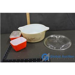Pyrex Casserole Dish with Lid and Two Refridgerator dishes (1 lid)