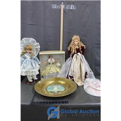 (2) Porcelain Dolls, Barbie and Decor