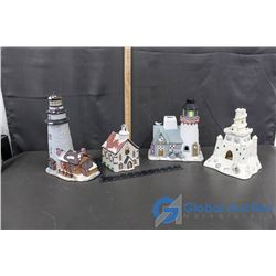 Ceramic Christmas Village Ornaments and Sand Castle
