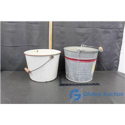 (1) Enamel Bucket and (1) Metal Bucket