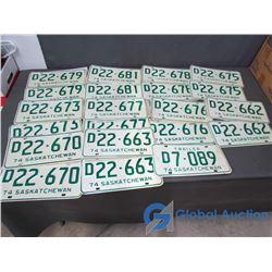 (12) Unused Saskatchewan License Plates