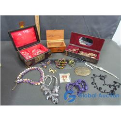 (3) Jewelry Boxes With Assorted Costume Jewelry
