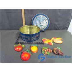 Tin of Fruit Chalkware