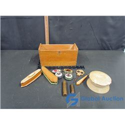 Celluloid Vanity Items w/Wooden Box