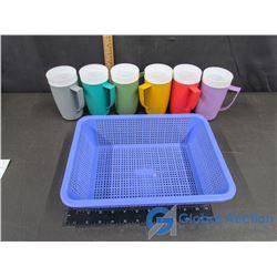 (6) Retro Plastic Tumblers with Handles