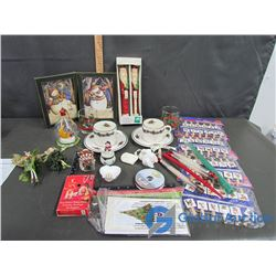 Box of Christmas Ornaments and Candles