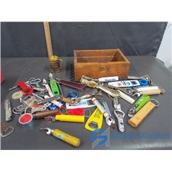 Assorted Bottle/Can Openers and Wooden Drawer