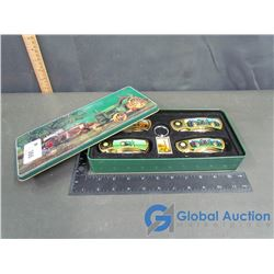 John Deere Tin Case Of Pocket Knives and Keychain