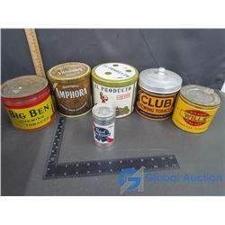 (5) Tobacco Tins and a Full Can of Pabst Blue Ribbon Beer