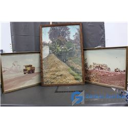 (3) Framed Road Construction Pictures - Bid Price x3