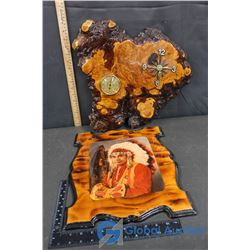Wooden Clock and Painting of Archie Calliou