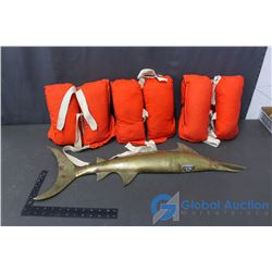 (3) Vintage Life Vests and a Brass Fish