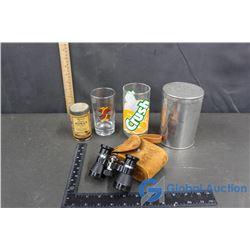 Vintage Binoculars, Crush Glass, Vintage Borax Tin, Magic Baking Powder