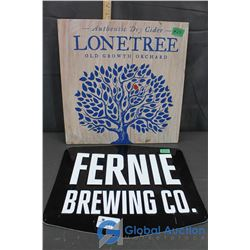 Fernie Brewing Co Metal Sign & Lonetree Dry Cider Wooden Sign