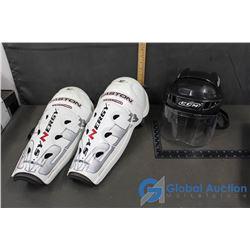 Hockey Helmet & Shin Pads
