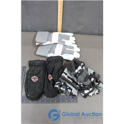 Men's Work Gloves, Camo Gloves, Flip Over Mitts, Ladies Black Leather Mitts w/Beaded Maple Leaf