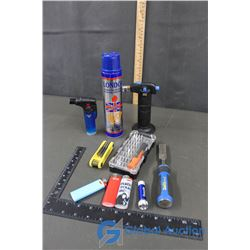 Mastercraft Chisel, Mini Torches, & Butane Can (Partially Full), Allen Wrench Set, Small Screwdriver