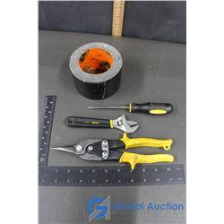 Gorilla Tape, Tin Snips, Stanley Screwdriver & Wrench
