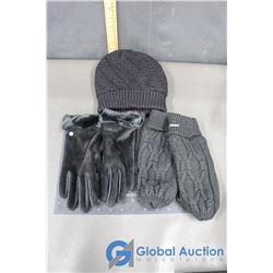 Woman's Black Toque, Ripzone Black Knit Mitts, Black Ladies Gloves