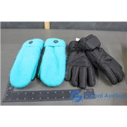 Teal Wool Mitts, XL Youth Hot Paws Gloves