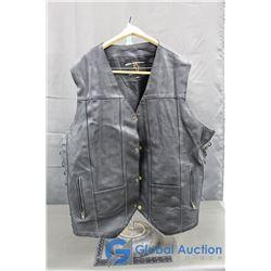 Shoznay Mens Black Leather Vest, size 4XL