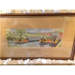 "Silk Woven ""Canal Boats"" 1900 Tapestry England"