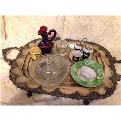 Tray w/Vintage Glassware & China