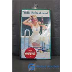 "Framed Coca-Cola poster, 23"" x 38"""