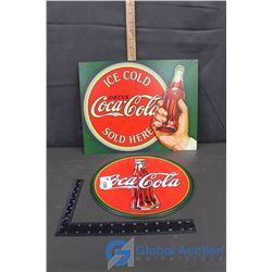 (2) Reproduction Tin Coca-Cola Signs